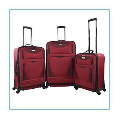 Travelers Club 3 Piece Skyview Spinner, Red Luggage Set, 3 Piece, 2 Pieces並行輸入品