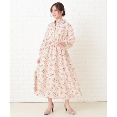 【レースレディース】 花柄フレア 長袖ロングワンピース レディース アイボリー フリーサイズ Lace Ladies