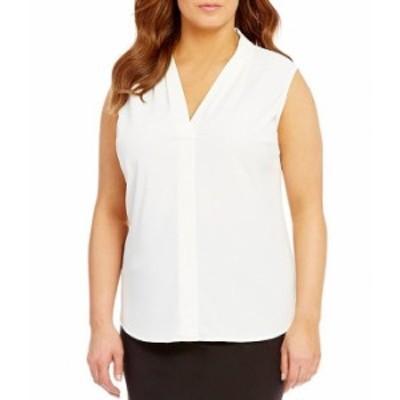カルバンクライン レディース タンクトップ トップス Plus Size Crepe de Chine Pleated Sleeveless V-Neck Shell Soft White