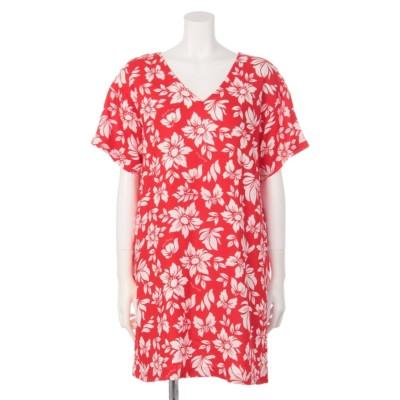 ALOHA FLOWER Vネック ワンピース (柄RED)
