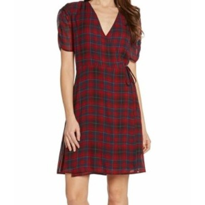 Willow & Clay ウィロー&クレイ ファッション ドレス Willow & Clay NEW Red Womens Size XS Plaid Printed Wrap Sheath Dress #129