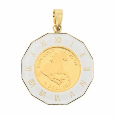 純金 K24 ホース 馬 1/25oz 金貨 ペンダントトップ コイン アトラス 時計文字 ホワイト K18 デザイン枠 新品 送料無料 メンズ レディース