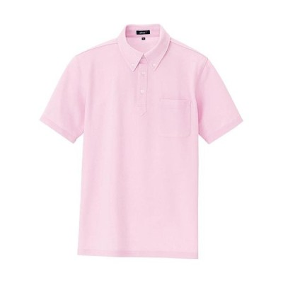 アイトス(AITOZ) 半袖ボタンダウンポロシャツ(男女兼用) メンズサイズ 060/ピンク AZ-7617 ワークウェア 作業着