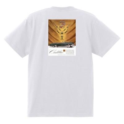 アドバタイジング キャデラックTシャツ 1949 白 092 オールディーズ ロックンロール 1950's1960's ロカビリー ローライダー