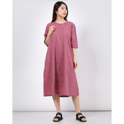 カンカン KANKAN 綿麻ビッグドットジャガードドレス (ピンク)