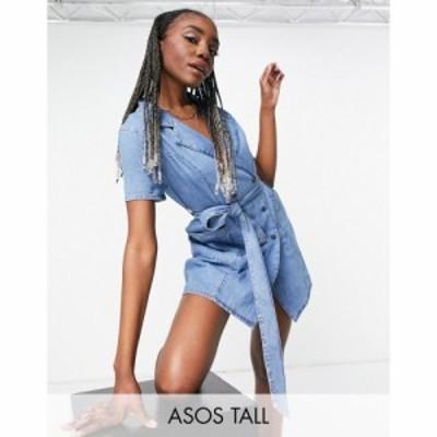 エイソス ASOS Tall レディース ワンピース デニム シャツワンピース ASOS DESIGN Tall denim double breasted shirt dress in midwash