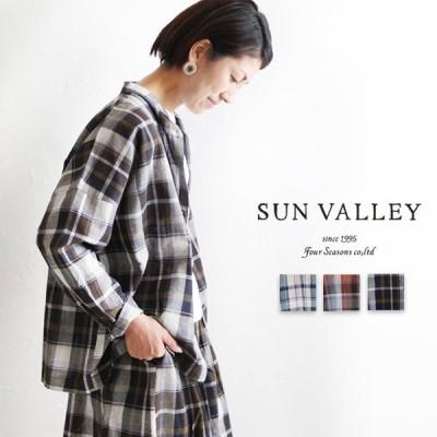 サンバレー sunvalley SK6018203 SH 綿麻マドラスチェックスタンドブラウス ナチュラル 麻 レディースファッション ナチュラル 服 pumila プミラ