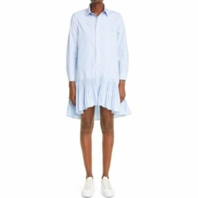 ヴァレンティノ RED VALENTINO レディース ワンピース シャツワンピース ワンピース・ドレス Stripe Ruffle High/Low Long Sleeve Shirtd