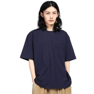 THRLEGBIRDTシャツ メンズ 無地 半袖 綿100% (NAVY BLUE, M)ネイビーブルー
