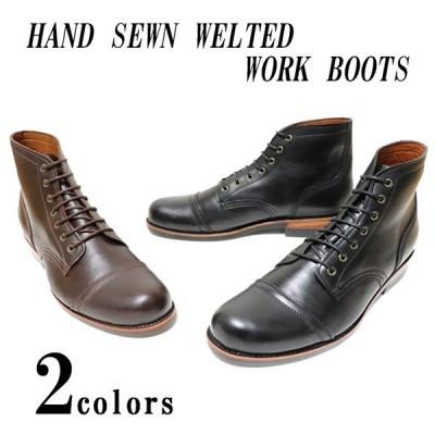 本革 ハンドメイド ワークブーツ ハンドソーンウェルテッド製法 靴 シューズ 7ホール  メンズ ブーツ カジュアルブーツ ブラック ダークブラウン 手作り靴