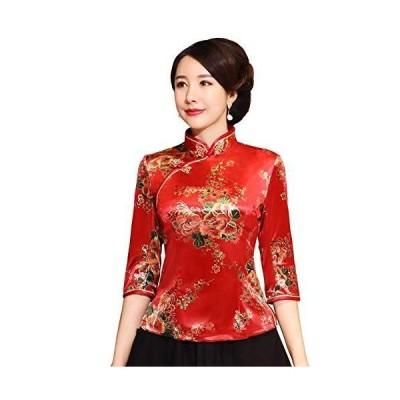 (上海物語)Shanghai Story チャイナトプス 民族風 チャイナ服 ベルベット ブラウス トップス 中華 上着 女性用 秋冬 スカ