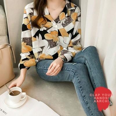 大きいサイズ シャツ レディース ファッション おおきいサイズ  あり 花柄 フラワー オープンカラー レトロ ビンテージ M L LL 3L 4L 5L 秋冬