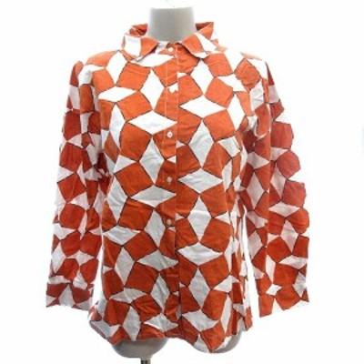【中古】フィリル fillil シャツ 総柄 長袖 オレンジ 白 ホワイト /AU レディース