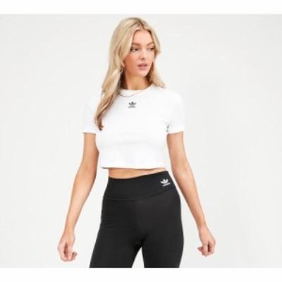 アディダス adidas Originals レディース ベアトップ・チューブトップ・クロップド トップス centre logo crop t-shirt White