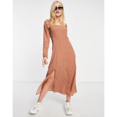 エイソス レディース ワンピース トップス ASOS DESIGN square neck midi skater dress in spot