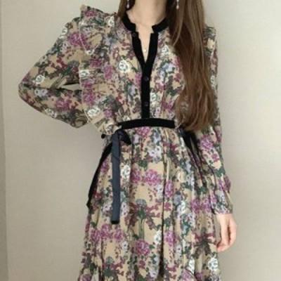 2色 花柄 ワンピース ミモレ丈 ウエストリボン 秋 冬 デート レディース ファッション 韓国 オルチャン