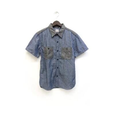 【中古】ザ フラットヘッド THE FLAT HEAD グローリーパーク GLORY PARK シャツ バイカラー 半袖 38 青 ブルー /Z メンズ 【ベクトル 古着】