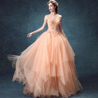20代 繊細なデザインが上品で可愛いサーモンピンクのロング丈ドレス