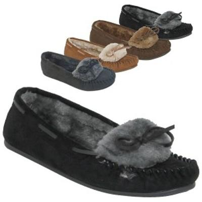 モカシン レディースシューズ レディースファッション 靴 秋冬 たっぷりファー付き スエード フラットシューズ 小ぶりリボン シューズ