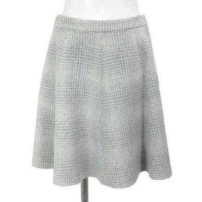 アベニールエトワール グレー 白 チェック スカート 38