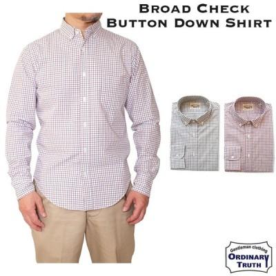 【OUTLET】ボタンダウンシャツ メンズ 長袖 タッターソール シャツ ブロードチェック シャツ チェックシャツ トラッド アイビー 長袖シャツ 細身