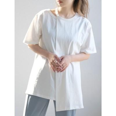 アンドジェイ ANDJ 肩開きアシンメトリーTシャツ (ホワイト)