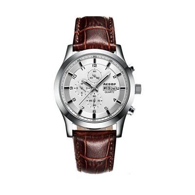 メンズスポーツ腕時計サファイアクリスタルクオーツ316lステンレススチール週表示革オスビジネス腕時計 44mm シルバーホワイト