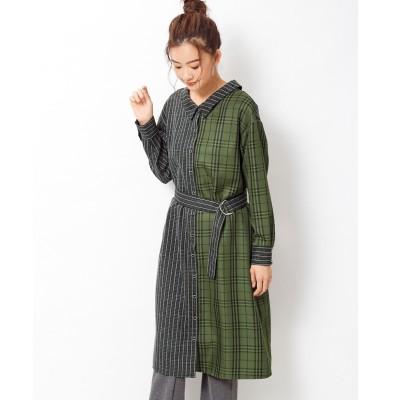 【大きいサイズ】 柄切替シャツワンピース(スパイラルガールプラス) ワンピース, plus size dress