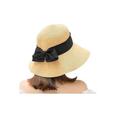 シンプル 麦わら帽子 レディース ハット リボン かわいい UVカット 日焼け防止 大きい 折りたたみ 小顔