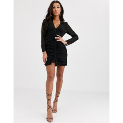 エイソス レディース ワンピース トップス ASOS DESIGN ruched button through mini dress in dobby in black Black