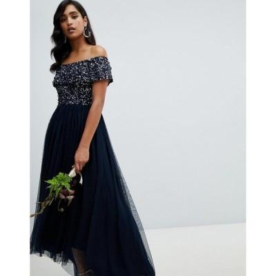 マヤ レディース ワンピース トップス Maya bardot high low maxi dress in navy Navy
