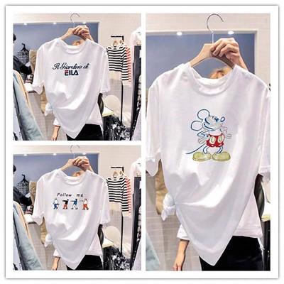 2020年の新しい夏の半袖Tシャツ女性の緩いバージョンショートTガール韓国の大きなサイズの女性の半袖野生の底入れシャツ