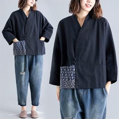 シャツ トップス レディース トップス チュニック ゆったり 綿麻 前開き 折襟 大きいサイズ シンプル 個性的なデザインがポイントに