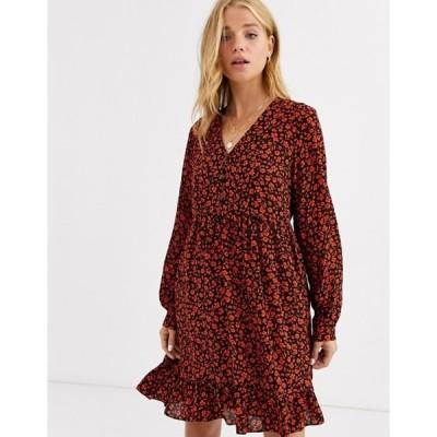 ノーバディーズ チャイルド レディース ワンピース トップス Nobody's Child button front smock dress in red ditsy