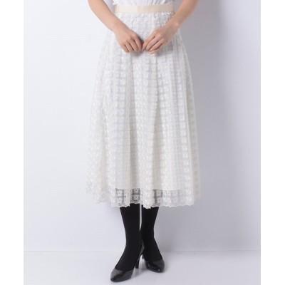 (ANAYI/アナイ)フラワー刺繍フレアスカート/レディース ベージュ