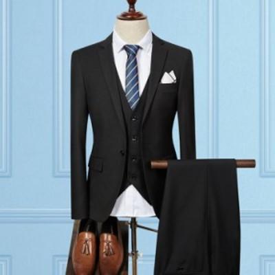 メンズスーツ スリーピース スリムスーツ 細身タイプ テーラード ひとつボタン 3点セット ビジネス フォーマル 卒業式 結婚式 成人式