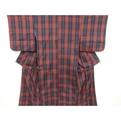 宗sou 格子模様織り出し米沢紬着物アンサンブル【リサイクル】【着】