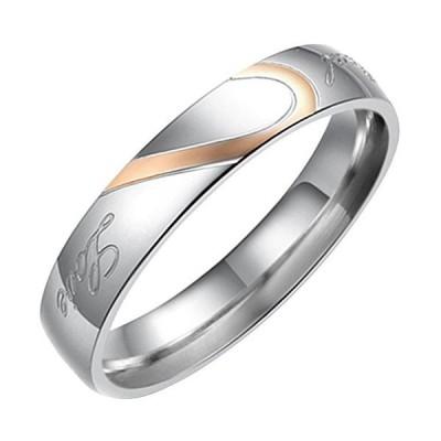 Flongo ステンレス指輪 ペア レディースリング Love&ハート モチーフ 刻印入 シンプル プレゼント 記念日 ゴールド シルバー(