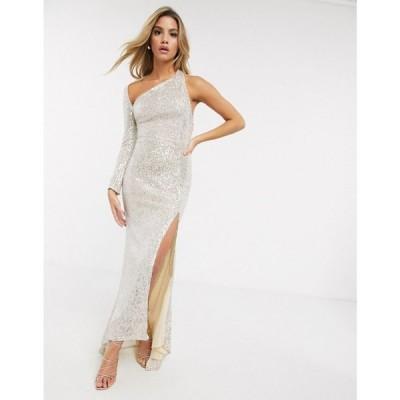 クラブエル ロンドン Club L London レディース ワンピース ワンピース・ドレス one shoulder sequin maxi dress with split in silver シルバー