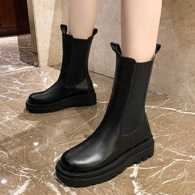 ブーツ サイドゴア ロングブーツ ミドル 厚底 PUレザー 革 黒 靴 シューズ レディース