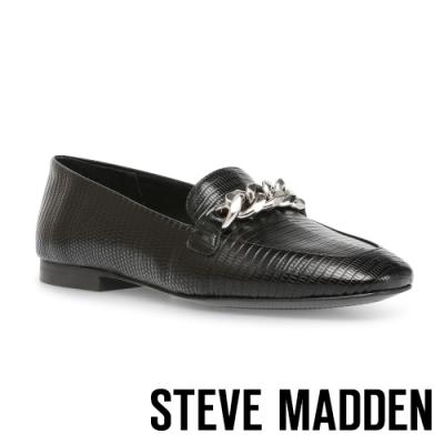 STEVE MADDEN-KAYSON 氣質百搭款 皮質飾釦平底女鞋-黑色