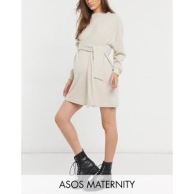 エイソス レディース ワンピース トップス ASOS DESIGN Maternity tie waist brushed rib mini dress in oatmeal Oatmeal