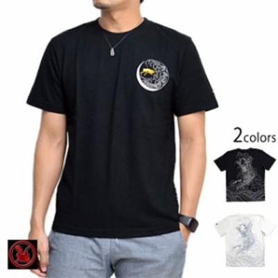 抱鯉河童半袖Tシャツ クロップドヘッズ 和柄 和風 妖怪 cropped heads ブラック ホワイト S M