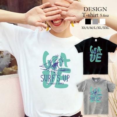 Tシャツ レディース 半袖 トップス ブランド ユニセックス メンズ プリントTシャツ ペア サーフ ロゴ 波 WAVE 夏 海 英字