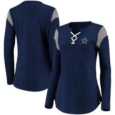 ファナティクス ブランデッド レディース Tシャツ トップス Dallas Cowboys NFL Pro Line by Fanatics Branded Women's Iconic Lace-Up Long Sleeve T-Shirt