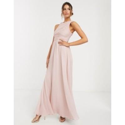 エイソス レディース ワンピース トップス ASOS DESIGN Bridesmaid maxi dress with soft pleated bodice Soft blush