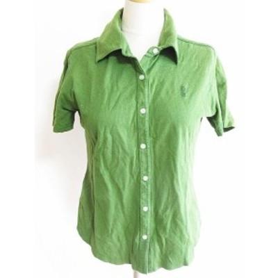 【中古】イーストボーイ EAST BOY 半袖 ポロシャツ シャツ ロゴ 綿 緑 9 レディース
