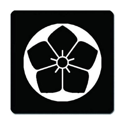 家紋 捺印マット 石持ち地抜き桔梗紋 11cm x 11cm KN11-1996W 白紋