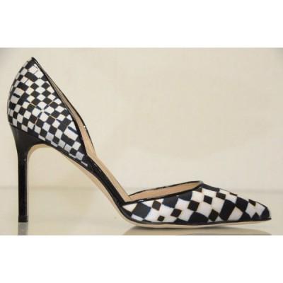 ハイヒール マノロブラニク Manolo Blahnik Tayler 90 black white Satin Patent Pump Dorsay Shoes 37