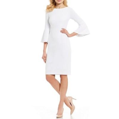 カルバンクライン レディース ワンピース トップス Bell Sleeve Sheath Dress White